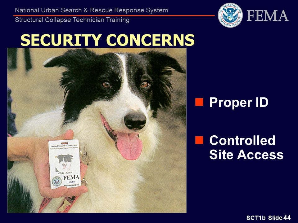 SCT1b Slide 44 National Urban Search & Rescue Response System Structural Collapse Technician Training Proper ID Controlled Site Access SECURITY CONCERNS