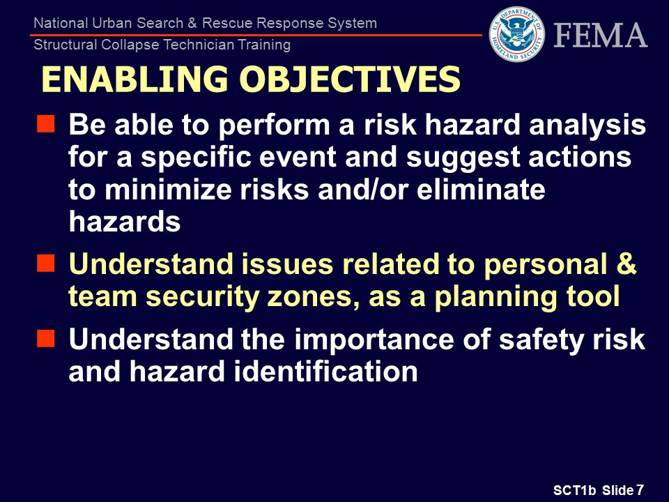 SCT1b Slide 8 National Urban Search & Rescue Response System Structural Collapse Technician Training PHASES Preparedness Training Exercise Deployment On-site operations Demobilization Return to state of readiness