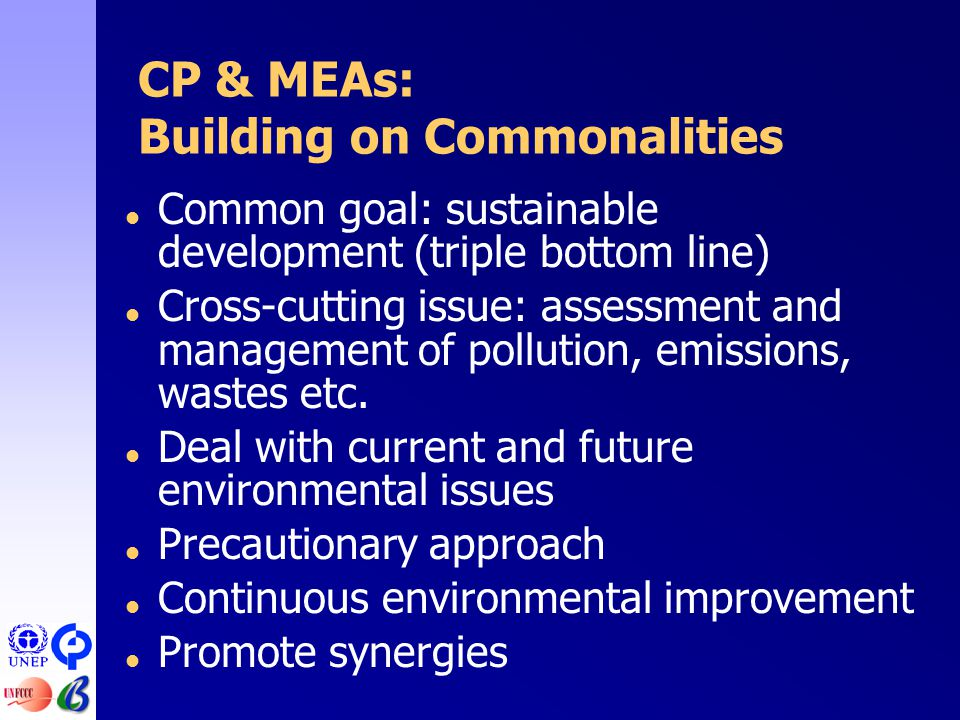 CP & MEAs: Building on Commonalities  Common goal: sustainable development (triple bottom line)  Cross-cutting issue: assessment and management of pollution, emissions, wastes etc.