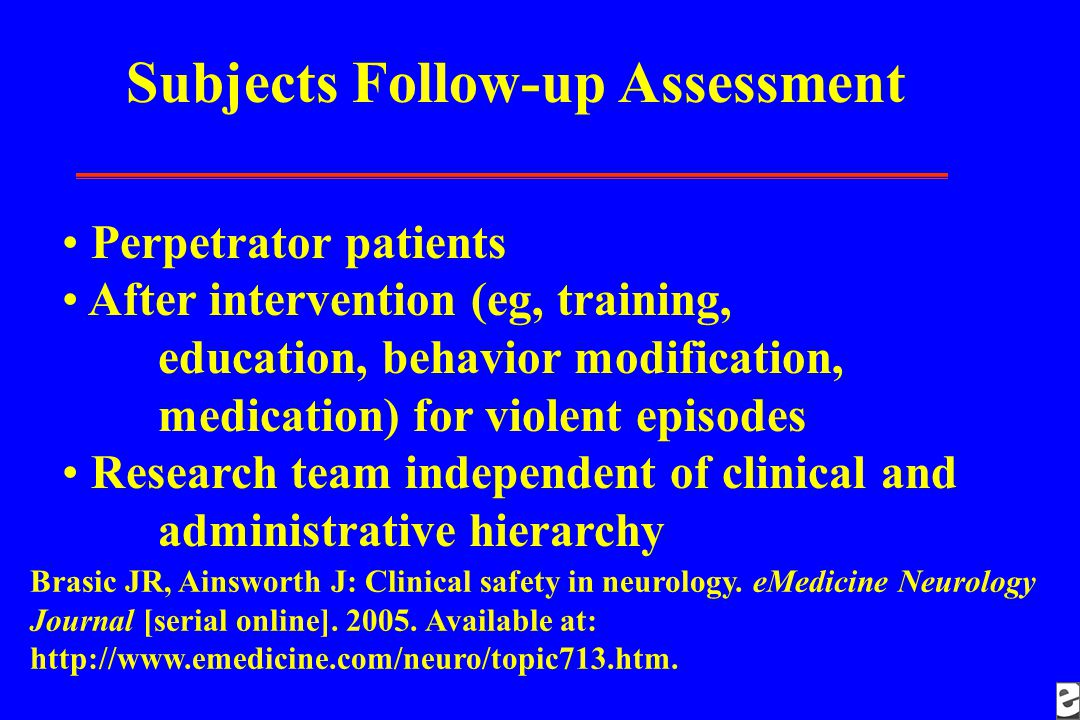 Subjects Follow-up Assessment Perpetrator patients After intervention (eg, training, education, behavior modification, medication) for violent episode