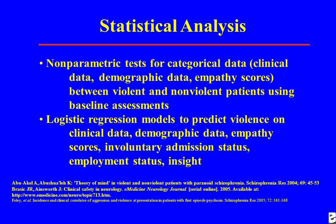 Statistical Analysis Nonparametric tests for categorical data (clinical data, demographic data, empathy scores) between violent and nonviolent patients using baseline assessments Logistic regression models to predict violence on clinical data, demographic data, empathy scores, involuntary admission status, employment status, insight Abu-Akel A, Abushua leh K: Theory of mind in violent and nonviolent patients with paranoid schizophrenia.