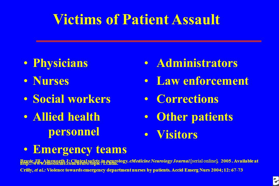Victims of Patient Assault Brasic JR, Ainsworth J: Clinical safety in neurology.