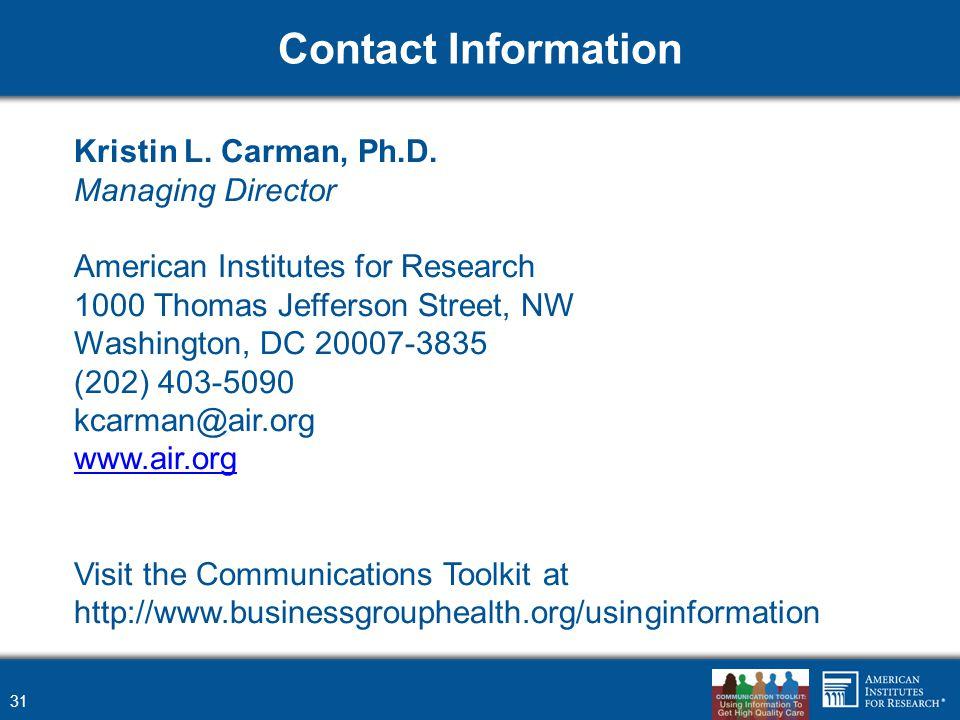 Contact Information 31 Kristin L. Carman, Ph.D.