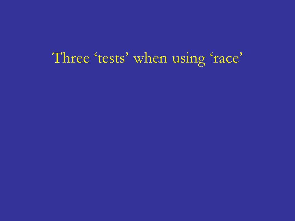 Three 'tests' when using 'race'