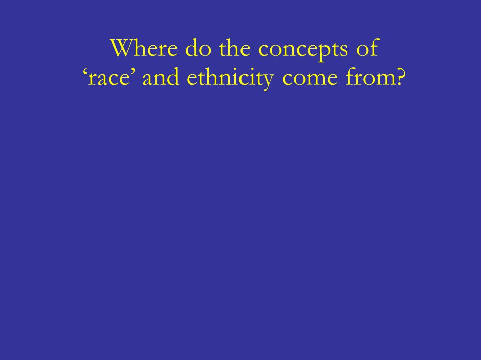 Where do the concepts of 'race' and ethnicity come from