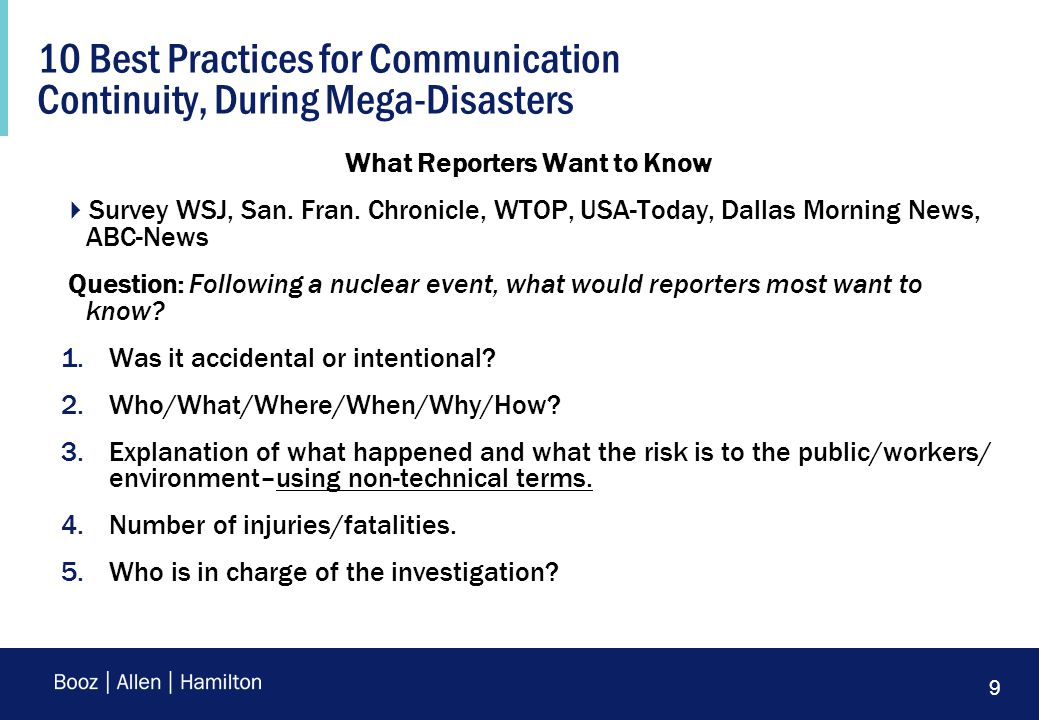 9 10 Best Practices for Communication Continuity, During Mega-Disasters What Reporters Want to Know  Survey WSJ, San.