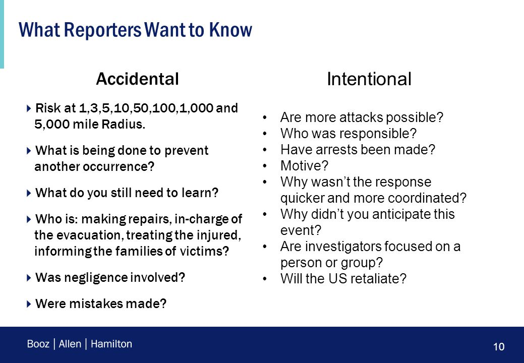 10 What Reporters Want to Know Accidental  Risk at 1,3,5,10,50,100,1,000 and 5,000 mile Radius.