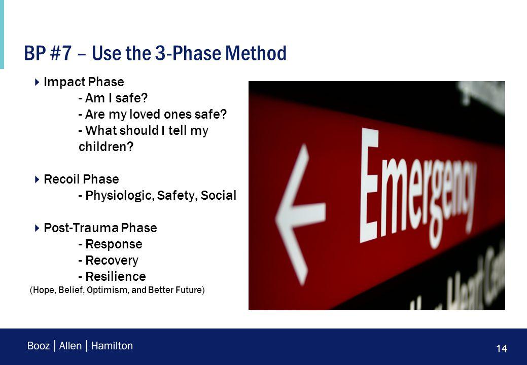 14 BP #7 – Use the 3-Phase Method  Impact Phase - Am I safe.