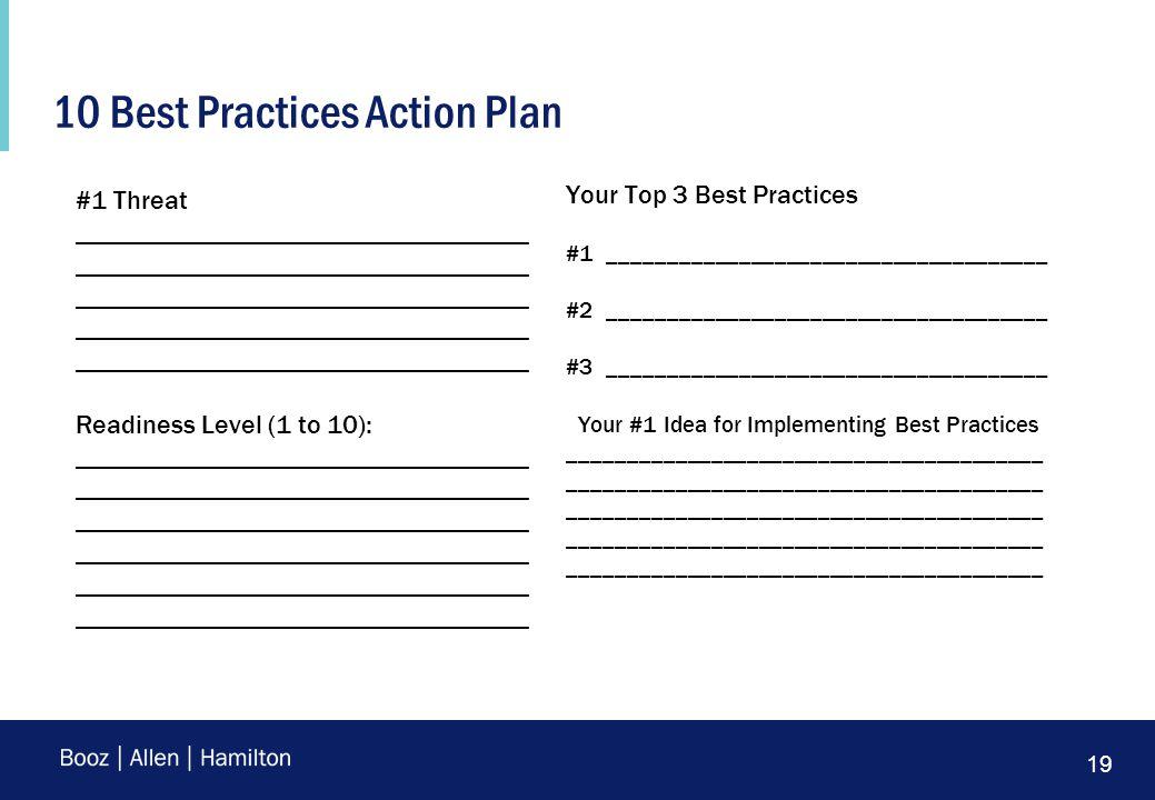 19 10 Best Practices Action Plan #1 Threat __________________________________ __________________________________ __________________________________ __