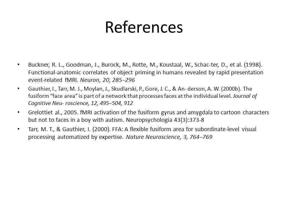References Buckner, R. L., Goodman, J., Burock, M., Rotte, M., Koustaal, W., Schac-ter, D., et al. (1998). Functional-anatomic correlates of object pr