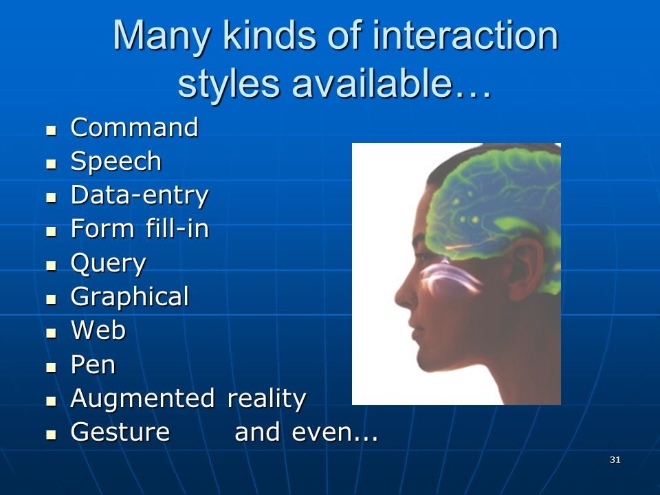 31 Many kinds of interaction styles available… Command Command Speech Speech Data-entry Data-entry Form fill-in Form fill-in Query Query Graphical Gra