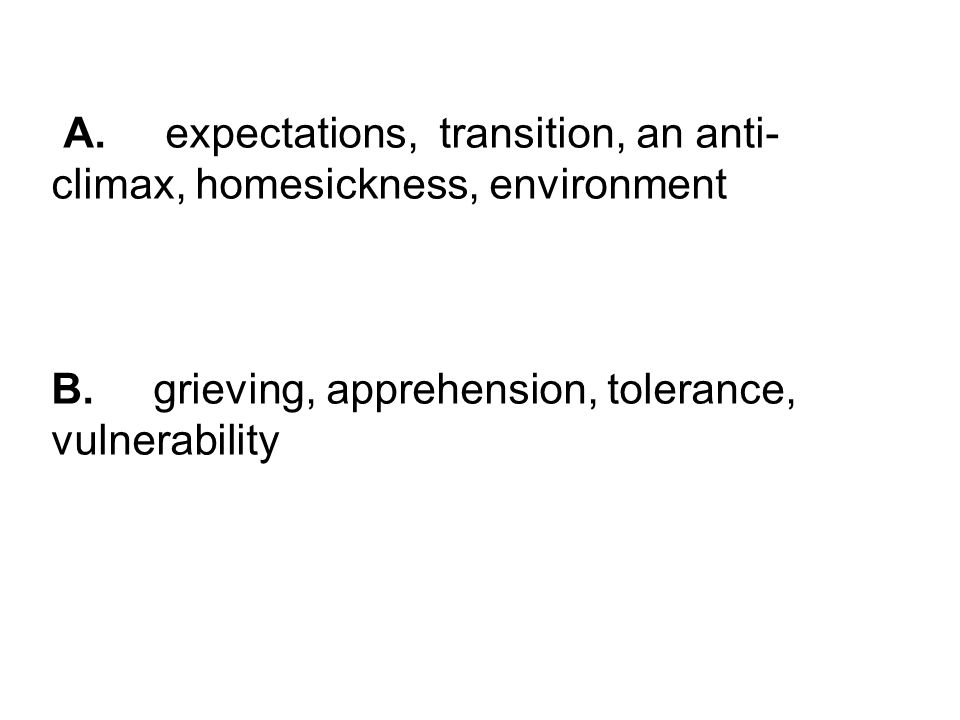 A. expectations, transition, an anti- climax, homesickness, environment B.