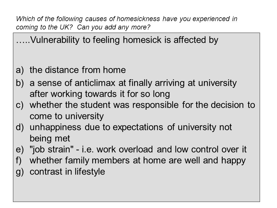 Which of the following causes of homesickness have you experienced in coming to the UK.