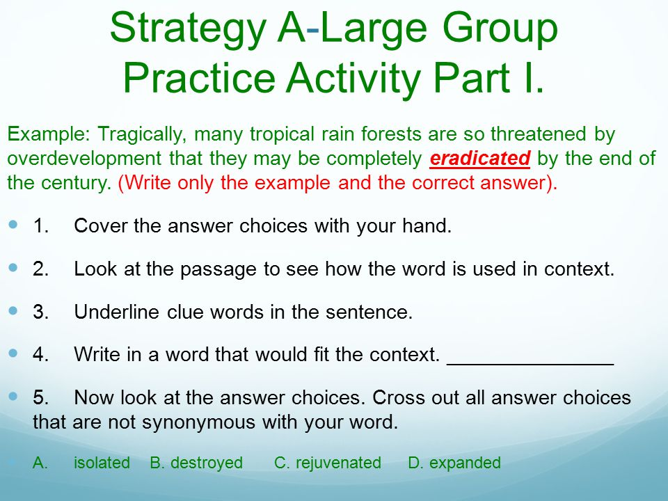 Strategy A-Large Group Practice Activity Part I.