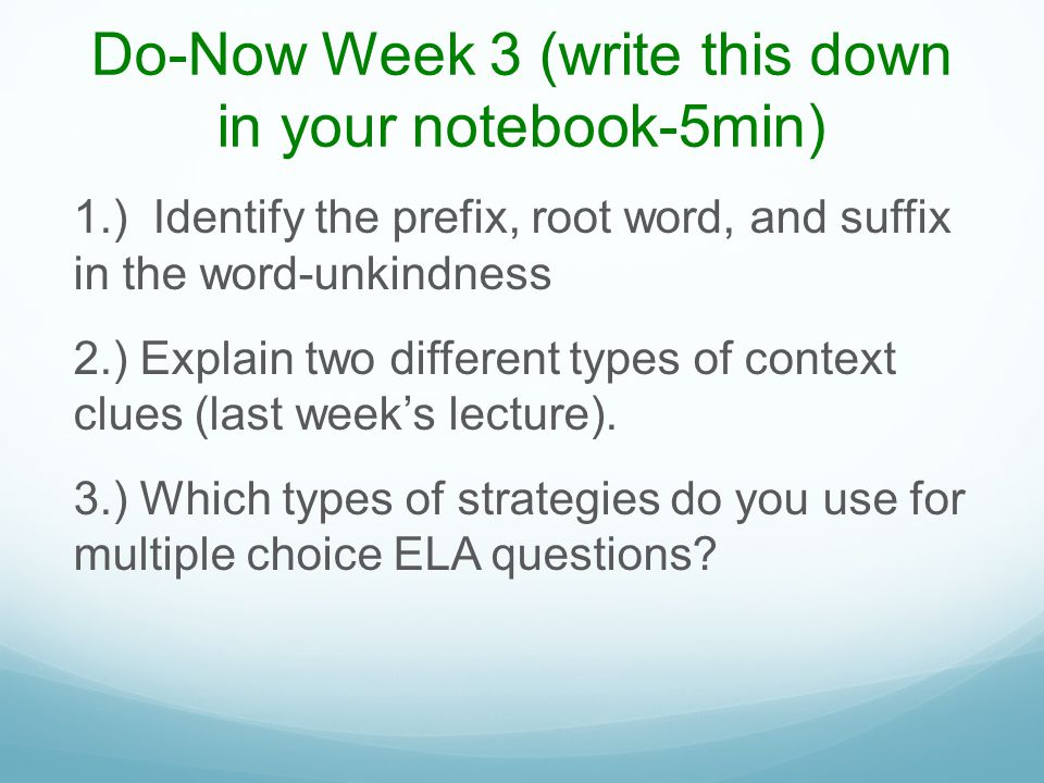 Test Prep Activity#1-Word Association (5 min) As a group, identify the smaller words within the larger words on the next slide.