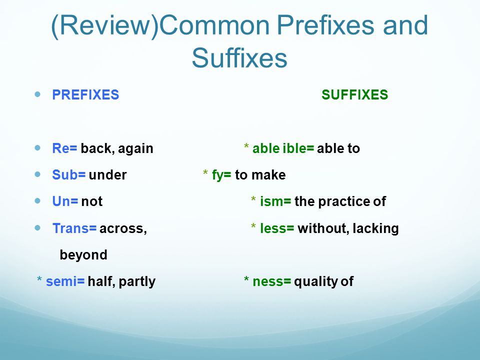(Review)Common Prefixes and Suffixes PREFIXES SUFFIXES Re= back, again * able ible= able to Sub= under * fy= to make Un= not * ism= the practice of Trans= across, * less= without, lacking beyond * semi= half, partly * ness= quality of