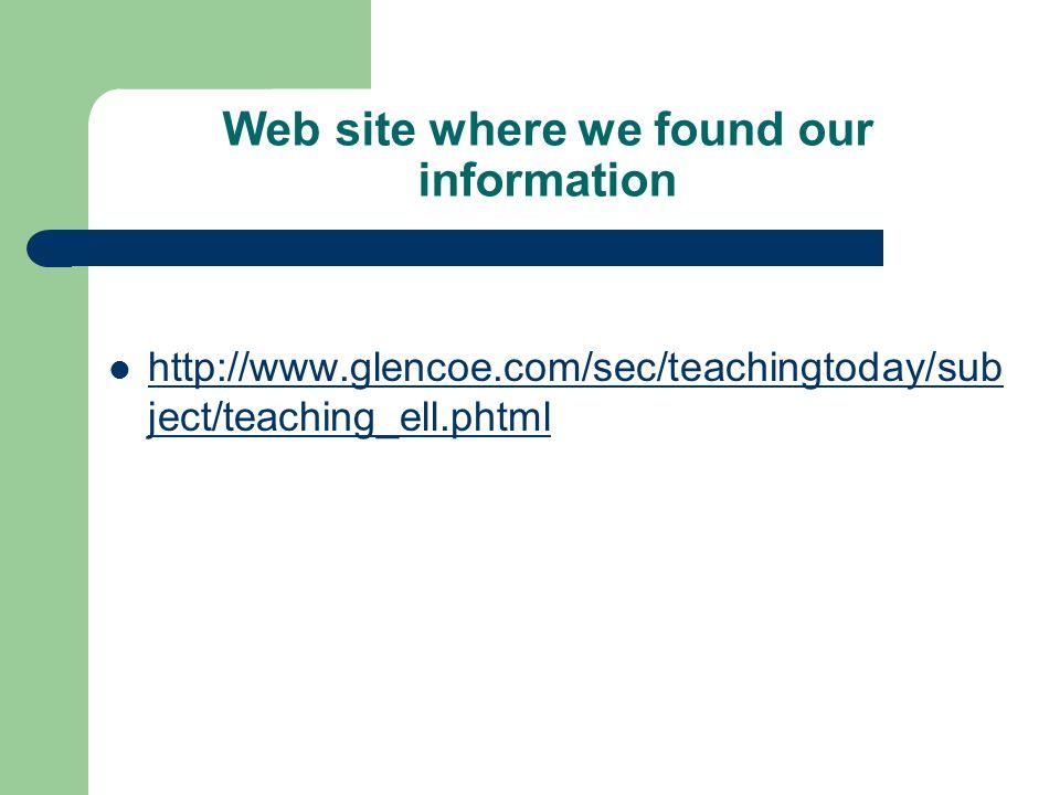 Web site where we found our information http://www.glencoe.com/sec/teachingtoday/sub ject/teaching_ell.phtml http://www.glencoe.com/sec/teachingtoday/