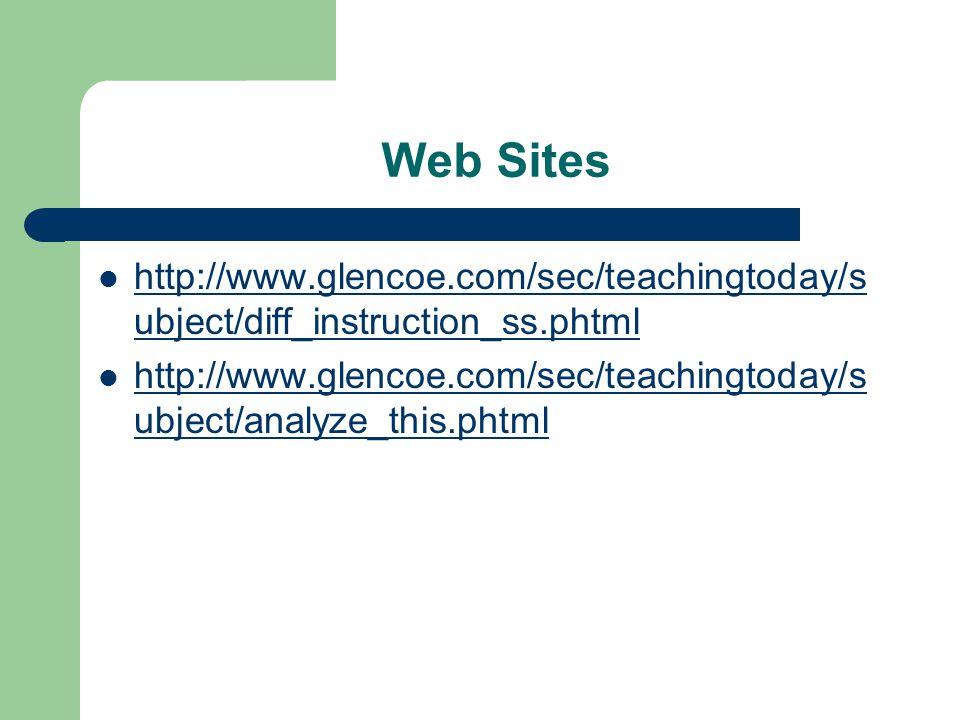 Web Sites http://www.glencoe.com/sec/teachingtoday/s ubject/diff_instruction_ss.phtml http://www.glencoe.com/sec/teachingtoday/s ubject/diff_instruction_ss.phtml http://www.glencoe.com/sec/teachingtoday/s ubject/analyze_this.phtml http://www.glencoe.com/sec/teachingtoday/s ubject/analyze_this.phtml