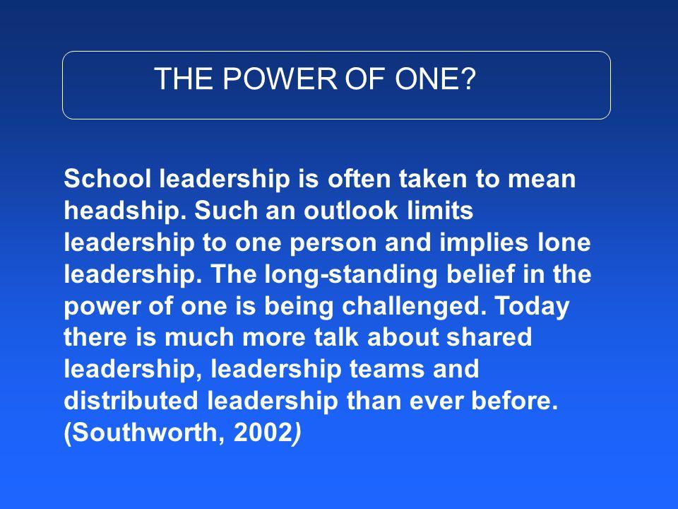 School leadership is often taken to mean headship.
