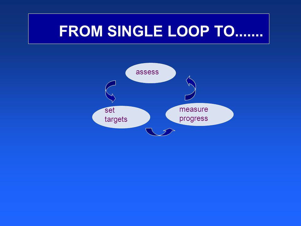 FROM SINGLE LOOP TO....... measure progress set targets assess