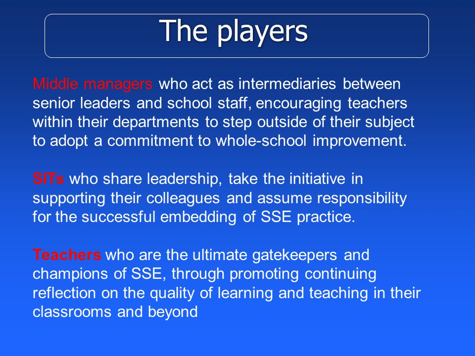 The players Middle managers who act as intermediaries between senior leaders and school staff, encouraging teachers within their departments to step outside of their subject to adopt a commitment to whole-school improvement.