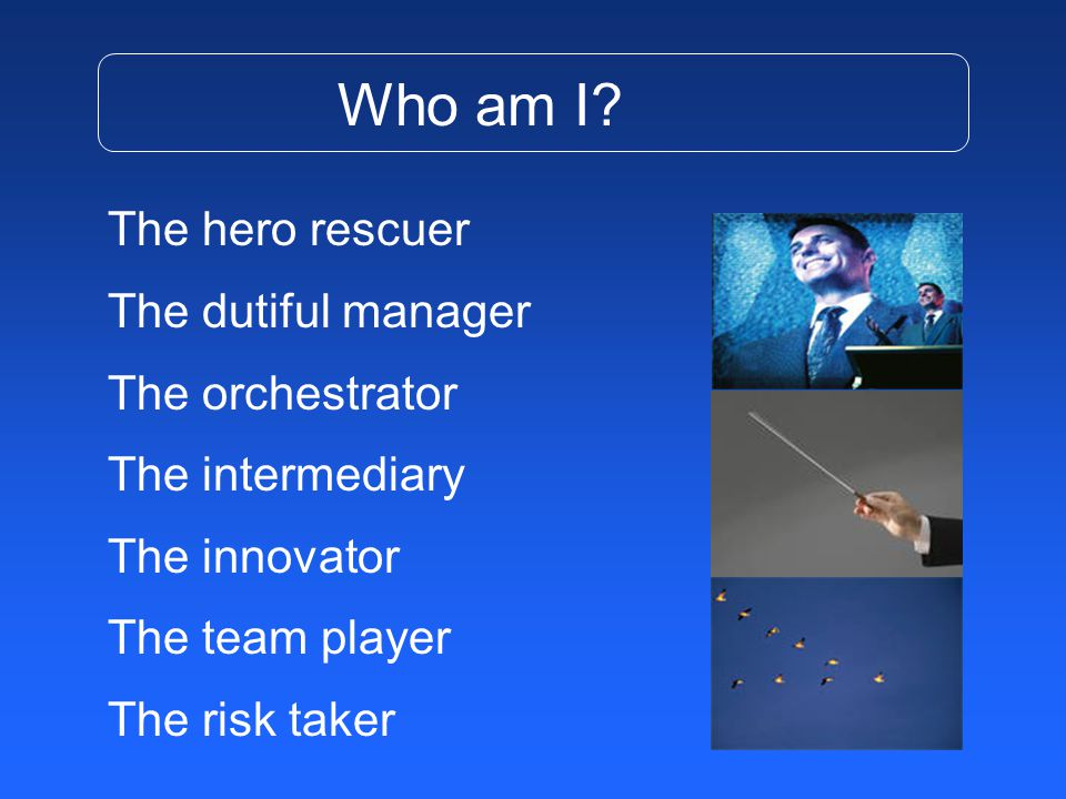 The hero rescuer The dutiful manager The orchestrator The intermediary The innovator The team player The risk taker Who am I