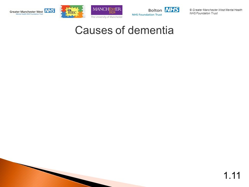 Causes of dementia 1.11 © Greater Manchester West Mental Health NHS Foundation Trust