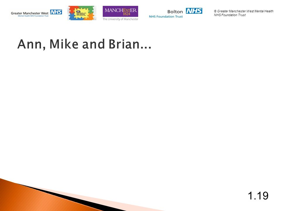 Ann, Mike and Brian... 1.19 © Greater Manchester West Mental Health NHS Foundation Trust
