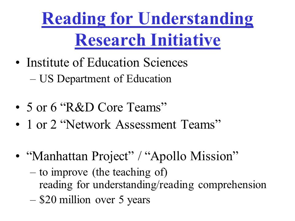 A Center for Reading for Understanding A Research and Development Core Team to Integrate Vocabulary, Writing, Reasoning, Multimodal Literacies, and Oral Discourse to Improve Reading Comprehension Principal location:UB Satellite locations:Niagara University, Penn State University Affiliated school districts: Niagara Falls CSD, Cleveland Hill USD, State College Area SD