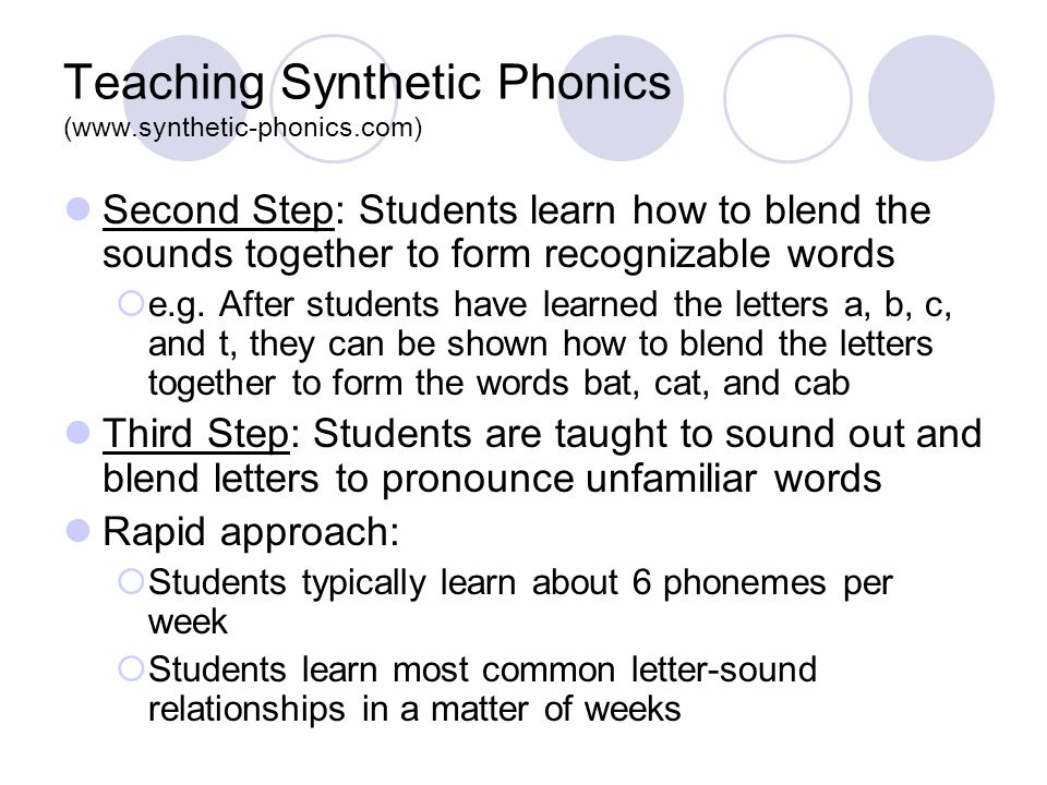 Teaching Synthetic Phonics (www.synthetic-phonics.com) Second Step: Students learn how to blend the sounds together to form recognizable words  e.g.