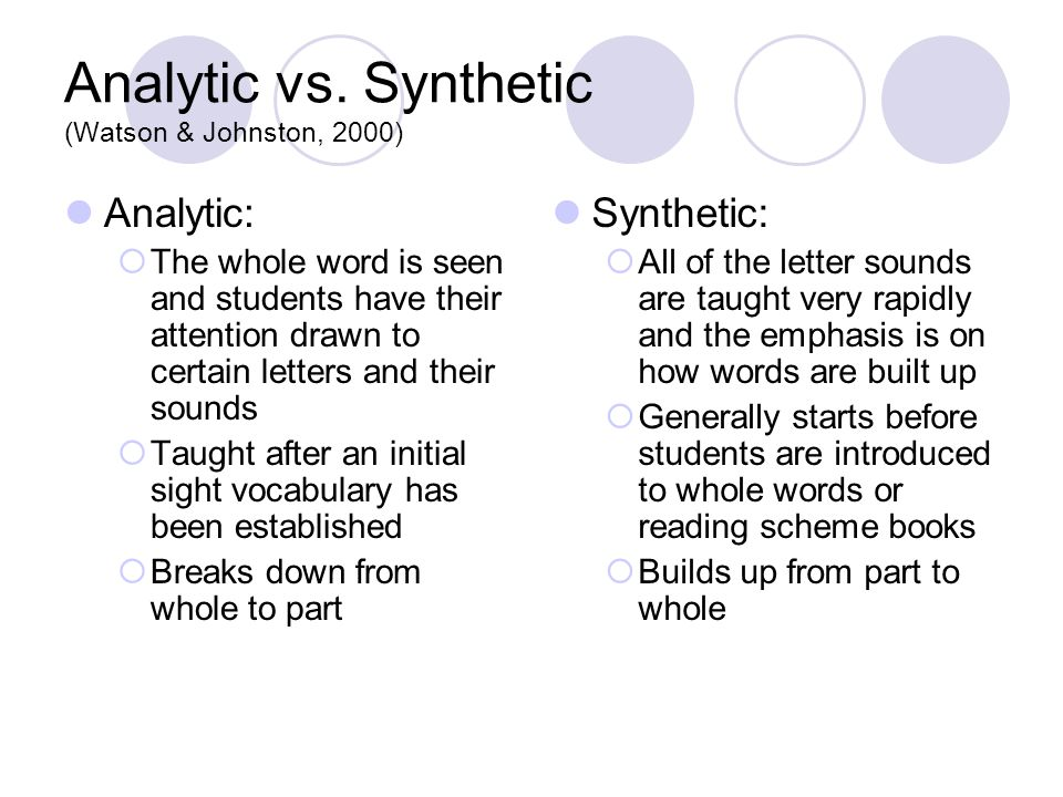 Analytic vs. Synthetic (Watson & Johnston, 2000) Analytic:  The whole word is seen and students have their attention drawn to certain letters and the