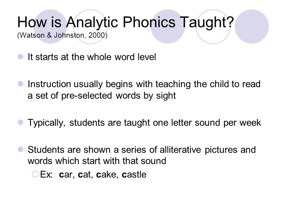 How is Analytic Phonics Taught.