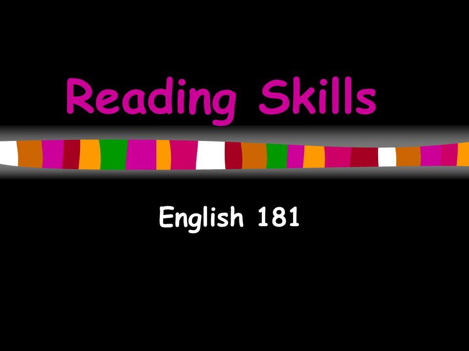 Reading Skills English 181
