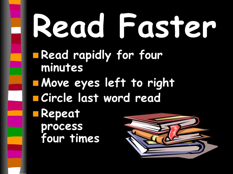 Read Faster Read rapidly for four minutes Move eyes left to right Circle last word read Repeat process four times
