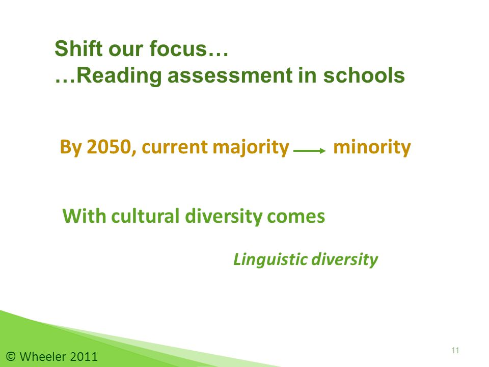 By 2050, current majority minority 11 Shift our focus… …Reading assessment in schools With cultural diversity comes 11 © Wheeler 2011 Linguistic diversity