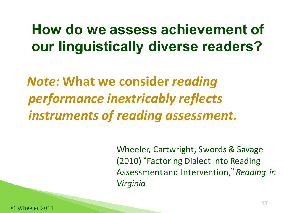 Note: What we consider reading performance inextricably reflects instruments of reading assessment.
