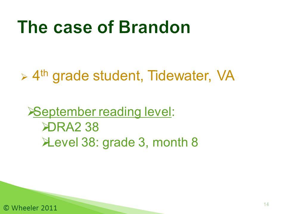 4 th grade student, Tidewater, VA 14 © Wheeler 2011  September reading level:  DRA2 38  Level 38: grade 3, month 8