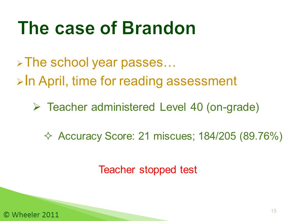  The school year passes…  I n April, time for reading assessment 15 © Wheeler 2011  Accuracy Score: 21 miscues; 184/205 (89.76%) Teacher stopped test  Teacher administered Level 40 (on-grade)