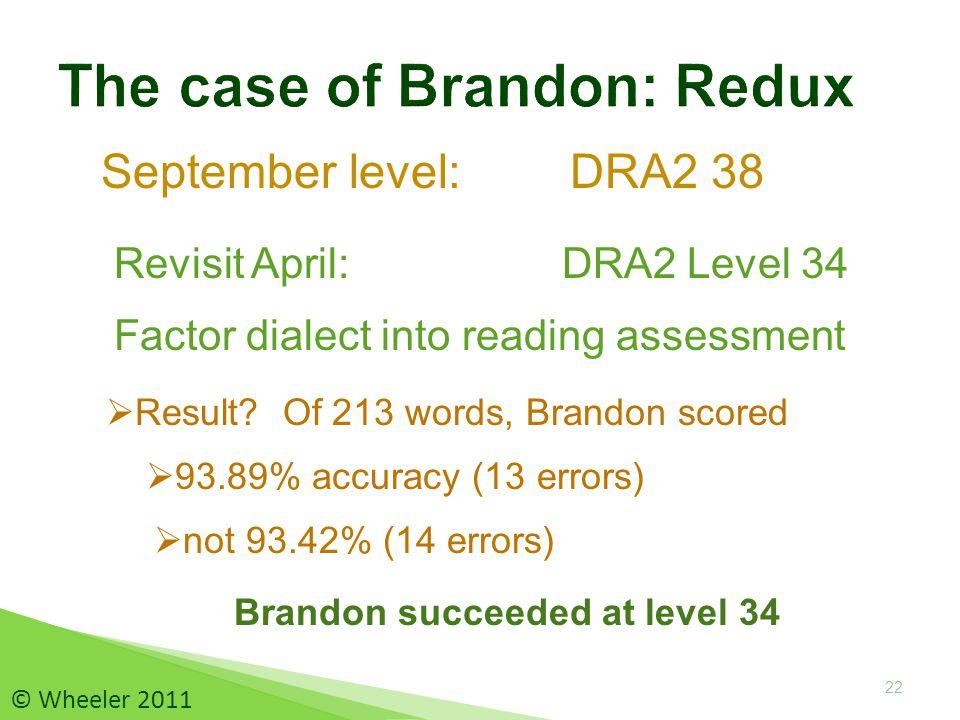 September level: DRA2 38 22  Result.