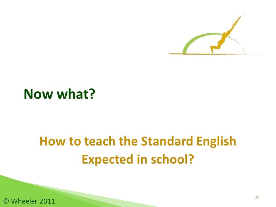 Now what How to teach the Standard English Expected in school 28 © Wheeler 2011
