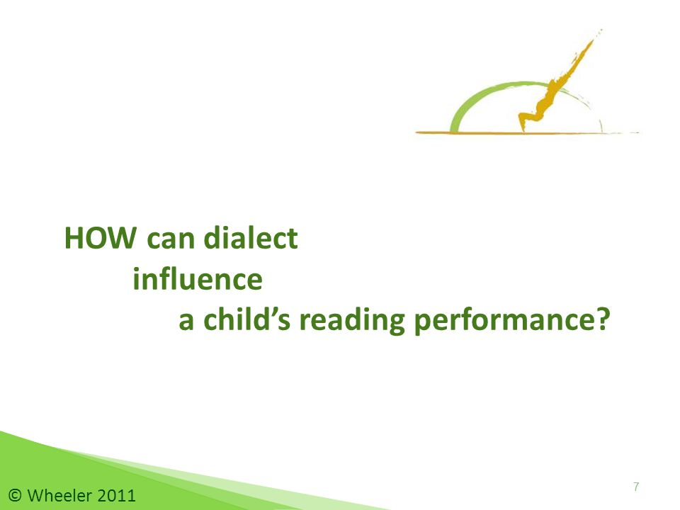 HOW can dialect influence a child's reading performance? 77 © Wheeler 2011