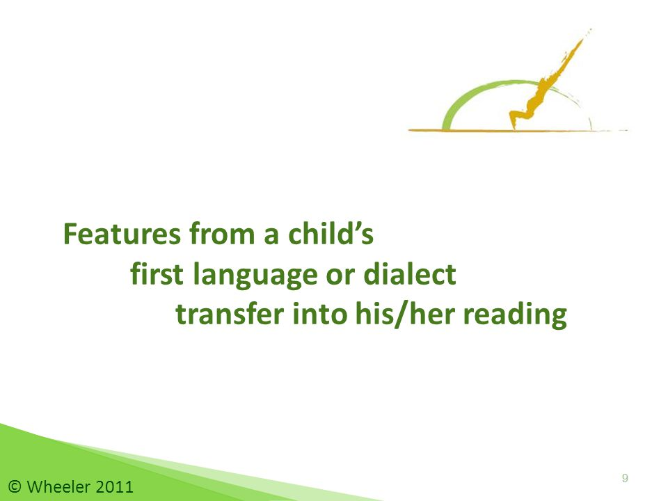 10 Language transfer 10 © Wheeler 2011 Definition : Language transfer occurs … …when the patterns of one's first language or dialect transfer into reading and writing.
