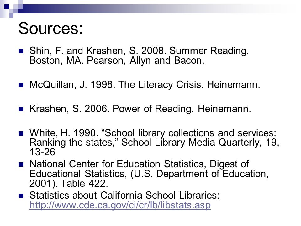 Sources: Shin, F. and Krashen, S. 2008. Summer Reading.