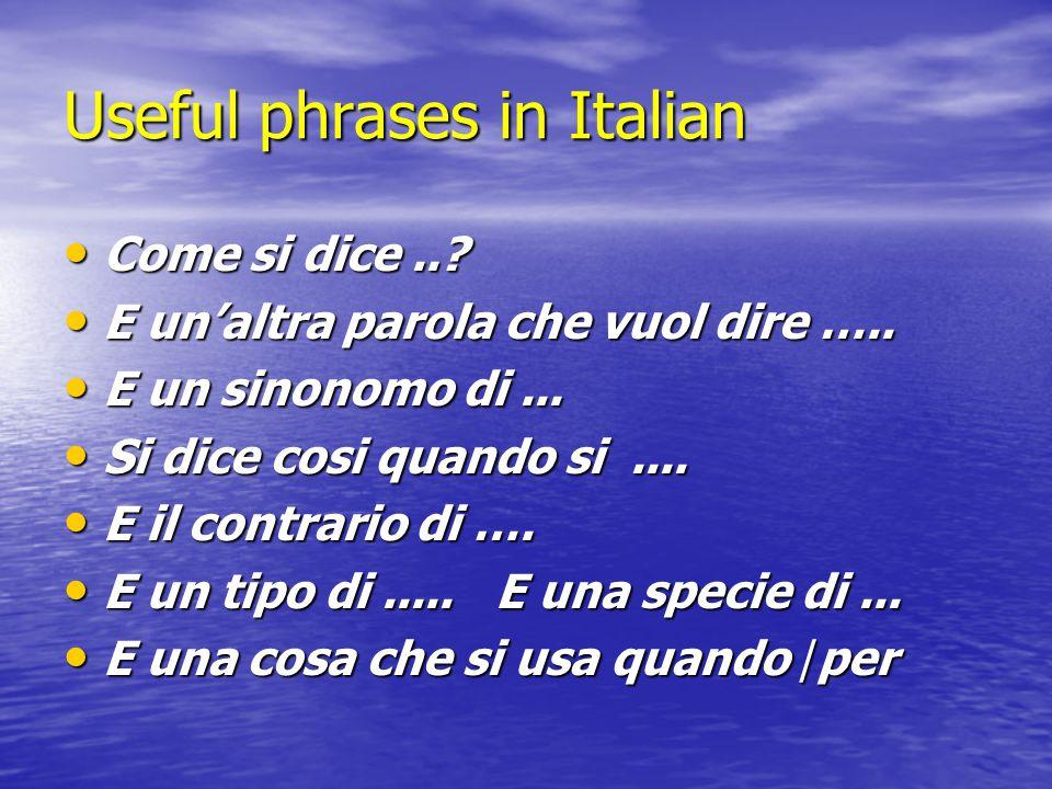 Useful phrases in Italian Come si dice...Come si dice...