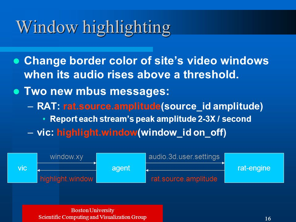 Boston University Scientific Computing and Visualization Group 16 Window highlighting Change border color of site's video windows when its audio rises above a threshold.
