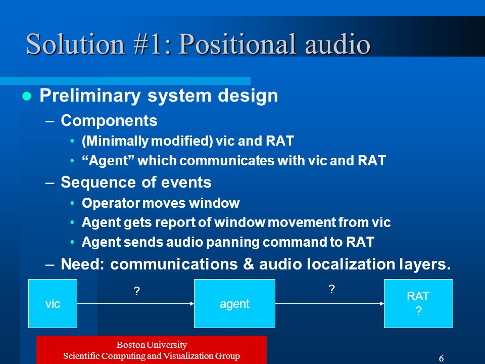 Boston University Scientific Computing and Visualization Group 6 Solution #1: Positional audio Preliminary system design –Components (Minimally modified) vic and RAT Agent which communicates with vic and RAT –Sequence of events Operator moves window Agent gets report of window movement from vic Agent sends audio panning command to RAT –Need: communications & audio localization layers.