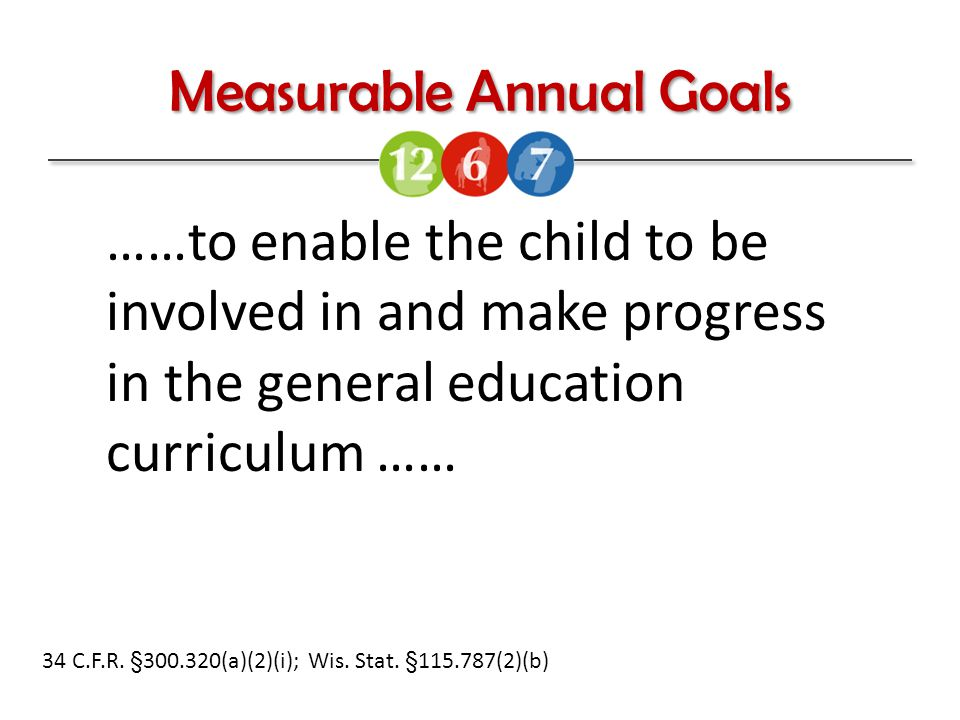 Measurable Annual Goals 34 C.F.R. §300.320(a)(2)(i); Wis.