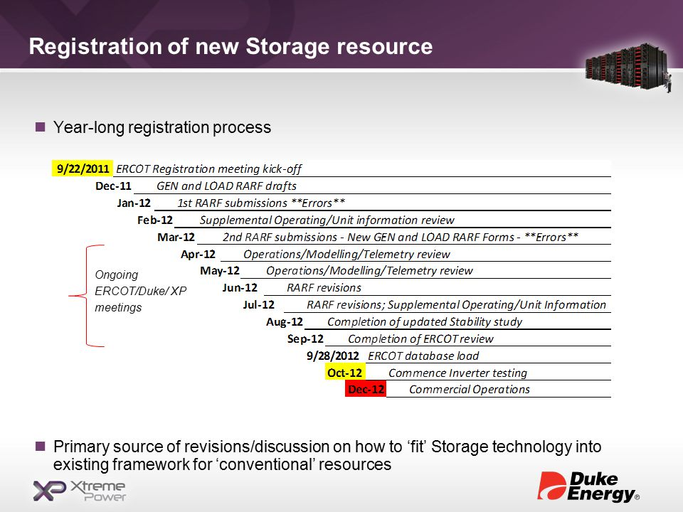Registration of new Storage resource Year-long registration process Primary source of revisions/discussion on how to 'fit' Storage technology into existing framework for 'conventional' resources Ongoing ERCOT/Duke/ XP meetings