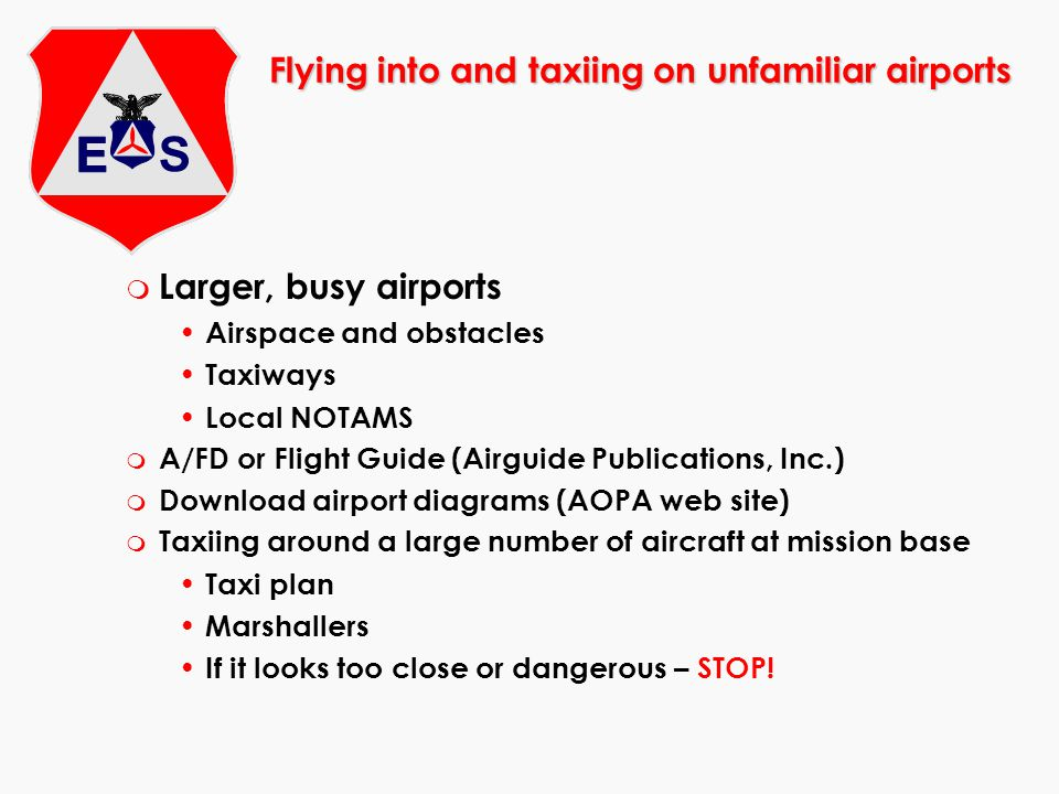 m Larger, busy airports Airspace and obstacles Taxiways Local NOTAMS m A/FD or Flight Guide (Airguide Publications, Inc.) m Download airport diagrams