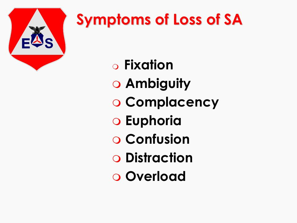 Symptoms of Loss of SA m Fixation m Ambiguity m Complacency m Euphoria m Confusion m Distraction m Overload